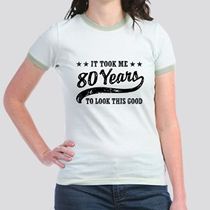 Funny 80th Birthday Jr. Ringer T-Shirt