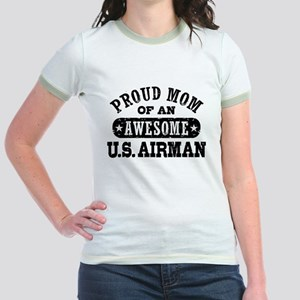 Proud Mom of an Awesome US Airman Jr. Ringer T-Shi