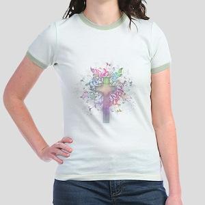 Rainbow Floral Cross Jr. Ringer T-Shirt