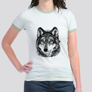 Painted Wolf Grayscale Jr. Ringer T-Shirt