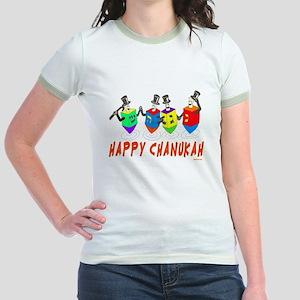 Happy Hanukkah Dancing Dreidels Jr. Ringer T-Shirt