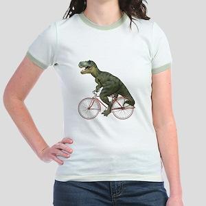 Cycling Tyrannosaurus Rex Jr. Ringer T-Shirt