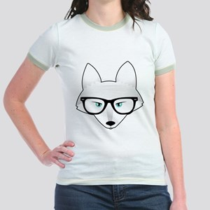 Cute Arctic Fox with Glasses Jr. Ringer T-Shirt