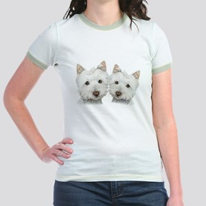 Two Cute West Highland White Dogs Jr. Ringer T-Shi