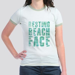 Resting Beach Face Print Jr. Ringer T-Shirt