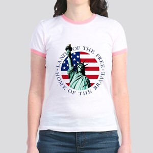 Liberty & American flag Jr. Ringer T-Shirt