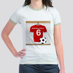 Red Customizable Soccer footb Jr. Ringer T-Shirt