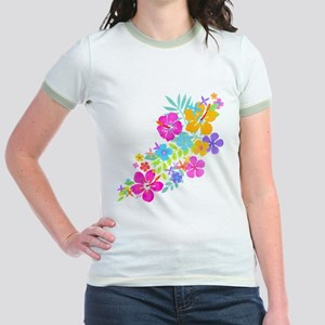 Tropical Flowers Jr. Ringer T-Shirt