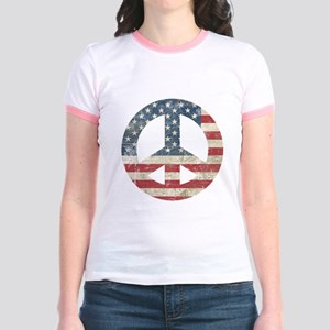 Vintage Peace In America Jr. Ringer T-Shirt