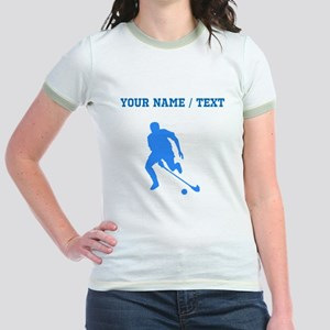 Custom Blue Field Hockey Player Silhouette T-Shirt