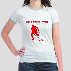 Red Field Hockey Player Silhouette (Custom) T-Shir
