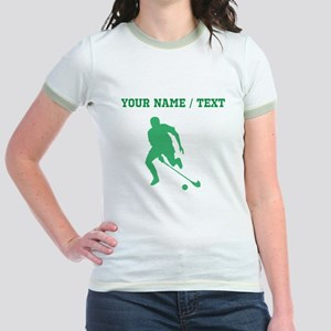 Green Field Hockey Player Silhouette (Custom) T-Sh