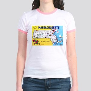 Massachussetts Map Greetings Jr. Ringer T-Shirt