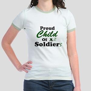 31ed984c Proud Child of 2 Soldiers Jr. Ringer T-Shirt