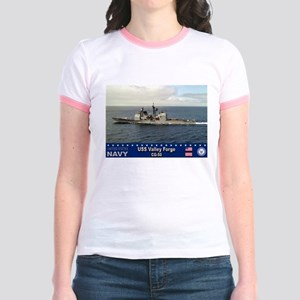 USS Valley Forge CG-50 Jr. Ringer T-Shirt