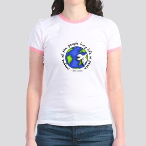 Imagine - World - Live in Peace Jr. Ringer T-Shirt