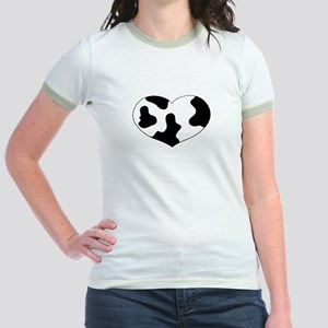 Cow Print Heart Jr. Ringer T-Shirt