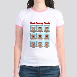 Sock Monkey Moods Jr. Ringer T-Shirt