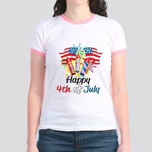 4th of July Fireworks Jr. Ringer T-Shirt