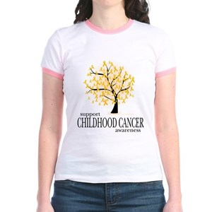 2c2c9459854 Childhood Cancer Tree Jr. Ringer T-Shirt