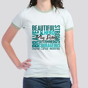 Tribute Square Ovarian Cancer Jr. Ringer T-Shirt