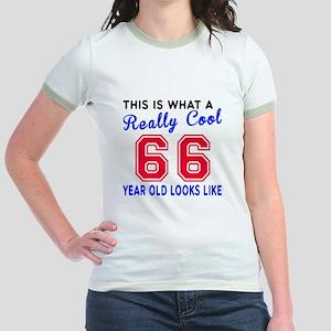 Really Cool 66 Birthday Designs Jr. Ringer T-Shirt