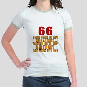 66 Birthday Designs Jr. Ringer T-Shirt