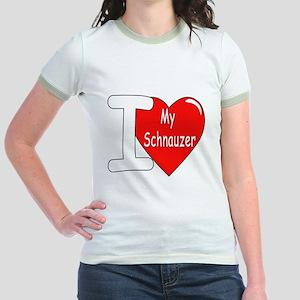 I Love My Schnauzer (Front) Jr. Ringer T-Shirt