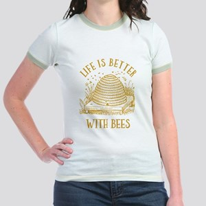 Life's Better With Bees Jr. Ringer T-Shirt