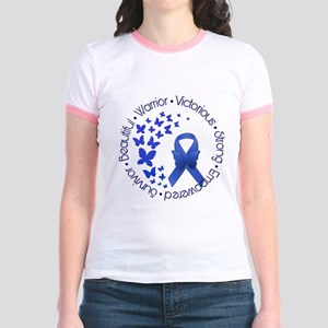 Blue Awareness Ribbon Jr. Ringer T-Shirt