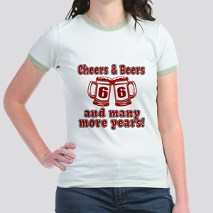 Cheers And Beers 66 And Many Mo Jr. Ringer T-Shirt