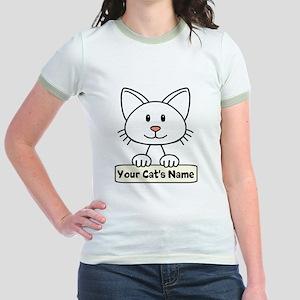 Personalized White Cat Jr. Ringer T-Shirt