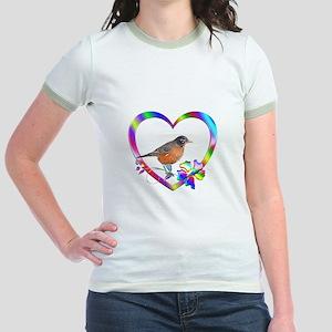 Robin In Colorful Heart Jr. Ringer T-Shirt