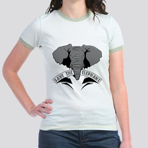 Save The Elephant Jr. Ringer T-Shirt