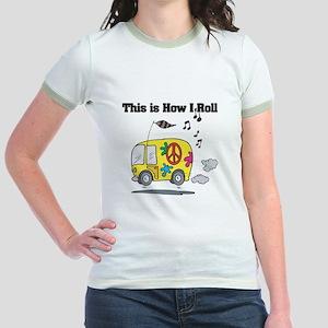 How I Roll (Hippie Bus/Van) Jr. Ringer T-Shirt