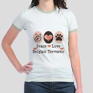 Peace Love Belgian Tervuren Jr. Ringer T-Shirt