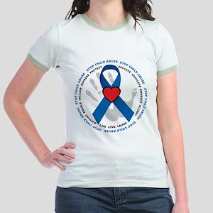 Stop Child Abuse Ribbon Jr. Ringer T-Shirt