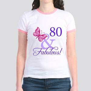 80 And Fabulous Jr. Ringer T-Shirt