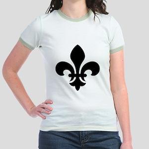 Black Fleur-de-Lys Jr. Ringer T-Shirt