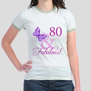 80 & Fabulous (Plumb) Jr. Ringer T-Shirt