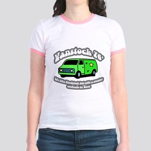 Vanstock 76 - White Text Jr. Ringer T-Shirt