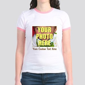 Custom Photo and Text Jr. Ringer T-Shirt
