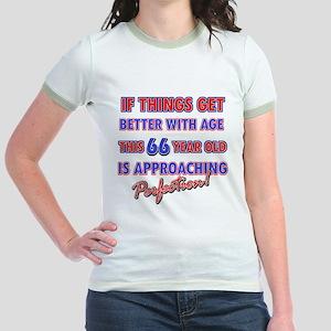 Funny 66th Birthdy designs Jr. Ringer T-Shirt