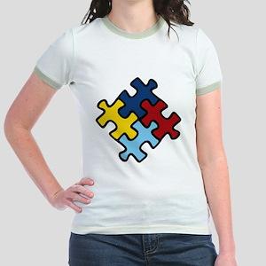 Autism Awareness Puzzle Jr. Ringer T-Shirt