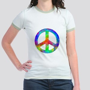 Multicolored Peace Sign Jr. Ringer T-Shirt