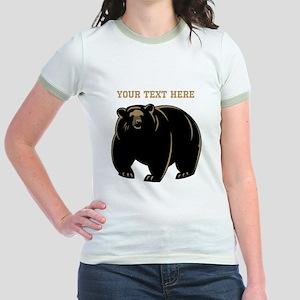 Big Bear with Custom Text. Jr. Ringer T-Shirt