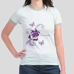Purple Butterflies and Vines Jr. Ringer T-Shirt