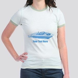 Motorboat. Add Your Text. Jr. Ringer T-Shirt