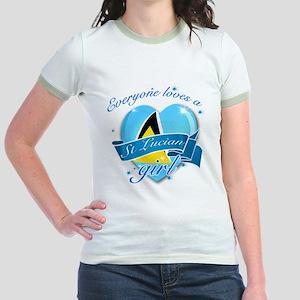 I heart St Lucian Designs Jr. Ringer T-Shirt