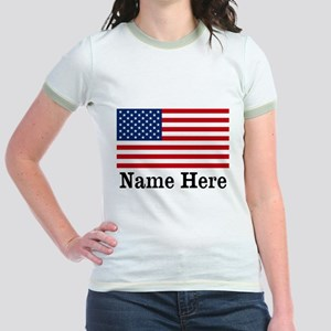 Personalized American Flag Jr. Ringer T-Shirt